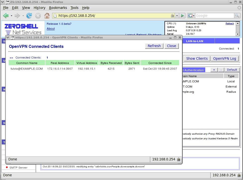 A VPN Host-to-LAN Gateway by using OpenVPN - Zeroshell Linux Router